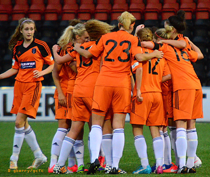 Glasgow City celebrate Courtney Whyte goal. Image by Graeme Berry.