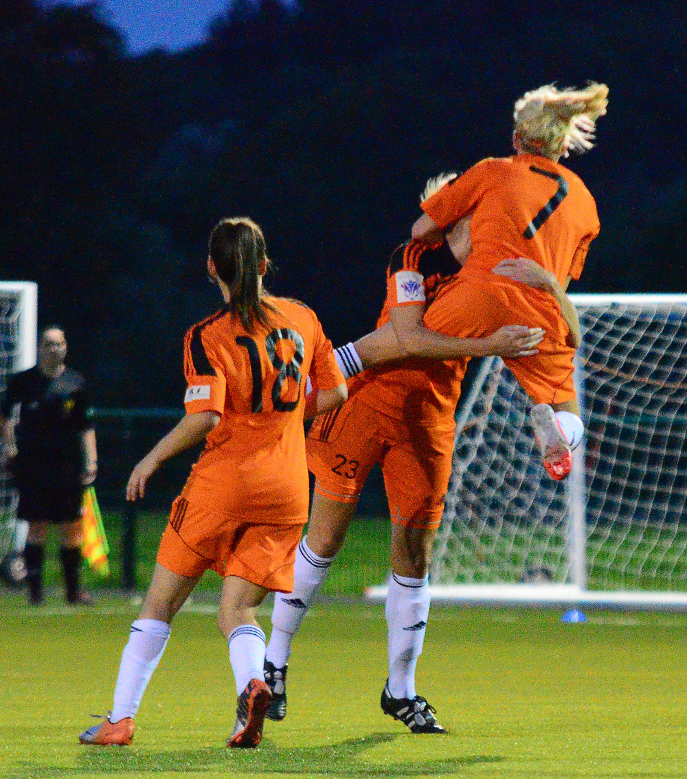 Julie Nelson celebrates her goal. Image courtesy of Graeme Berry