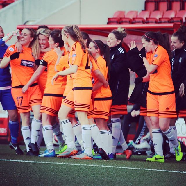 The team celebrate Fiona Brown's goal on her return from injury #GCFC
