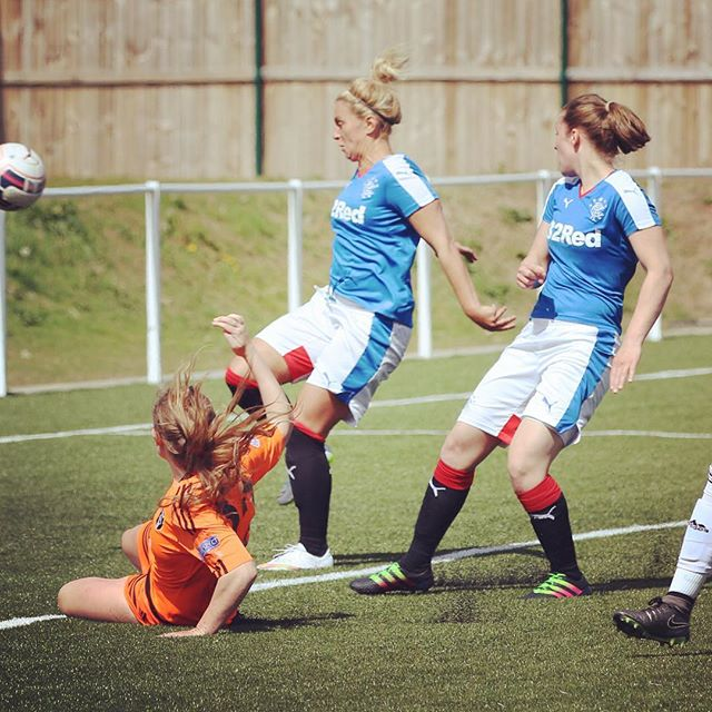MATCH ACTION | @erincuthbert_ goes close in the first half against Rangers. Pic by Tommy Hughes