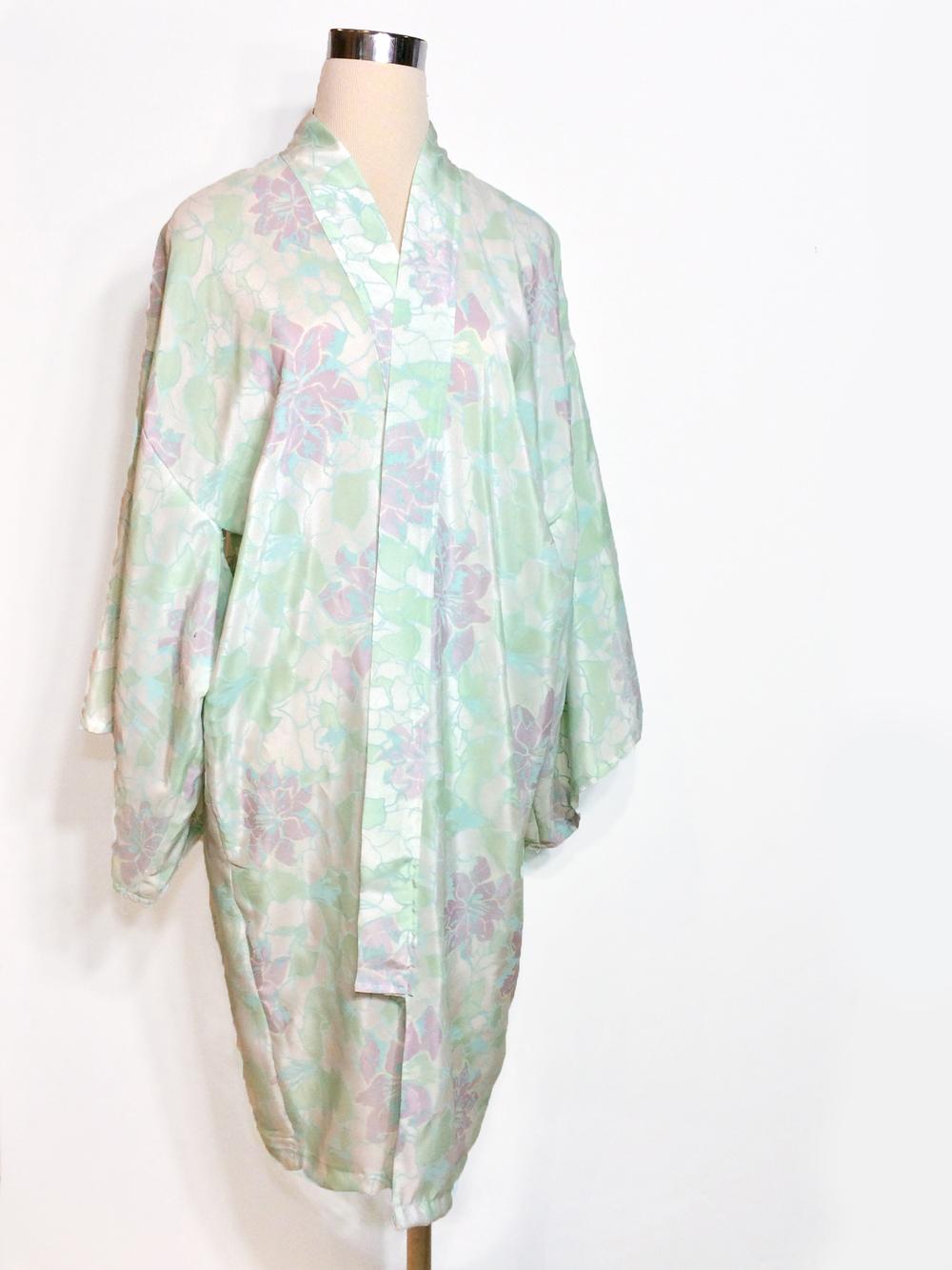 Mint Floral Silk Haori