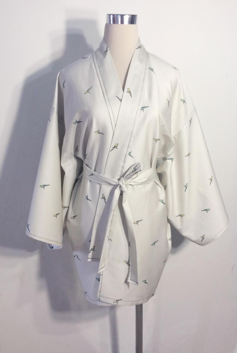 Parrot Print Cotton Haori Kimono