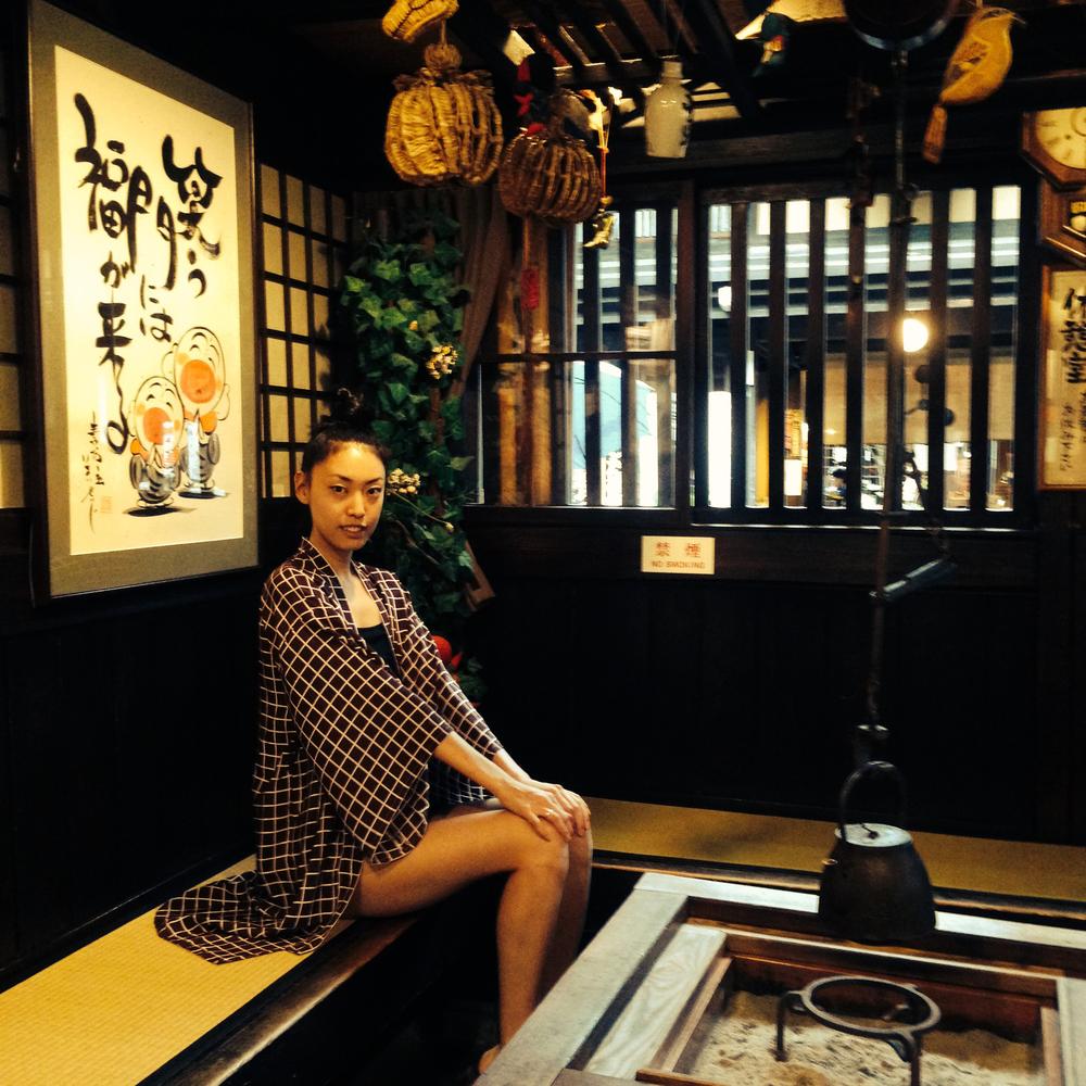 Tsubasa Watanabe in her Maroon Geo Print Haori Kimono