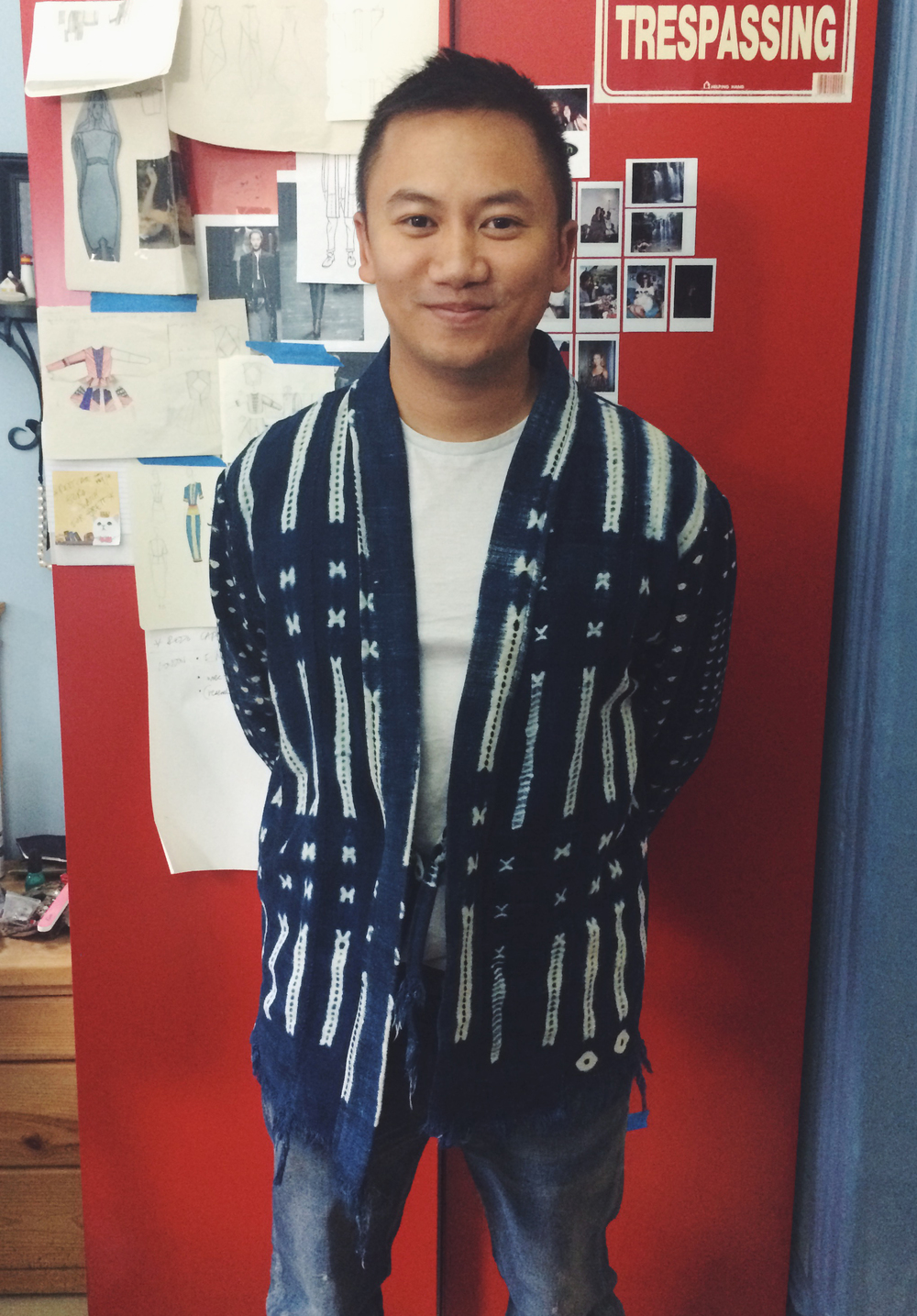Tommy Ton in his custom Indigo Dye Noragi