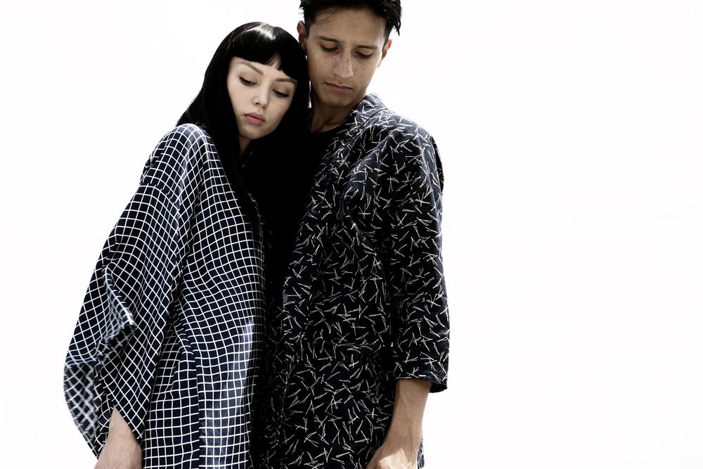 GEO GRID HAORI KIMONO + HAPPI CONTEMPORARYIndigo Grid Print Silk Haori Kimono // Drop Shoulder Indigo Dye Japanese Cotton Happiwww.thekimonokid.com/shop