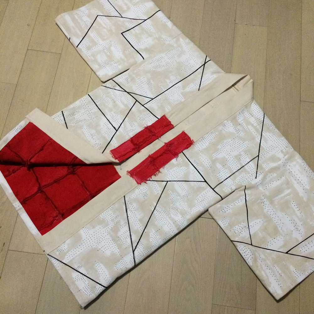 Custom Hand Painted Haori Kimono with hand-dyed red patchwork detail