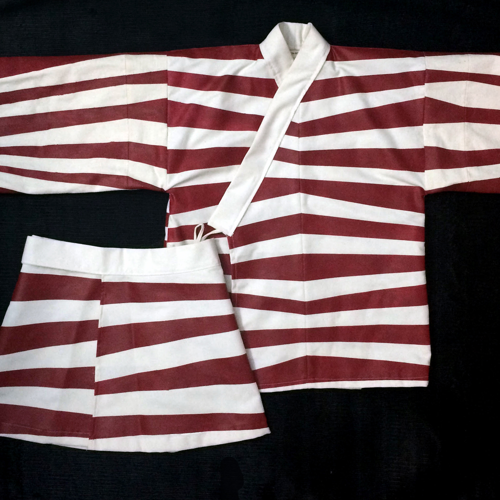 Hand-Painted Striped Jinbei Set (Jacket + Skirt)
