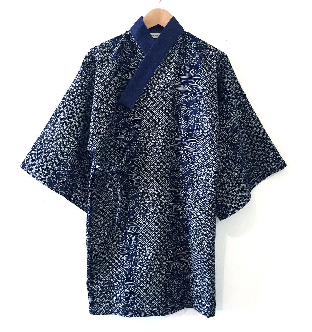 Japanese cotton and raw denim kimono