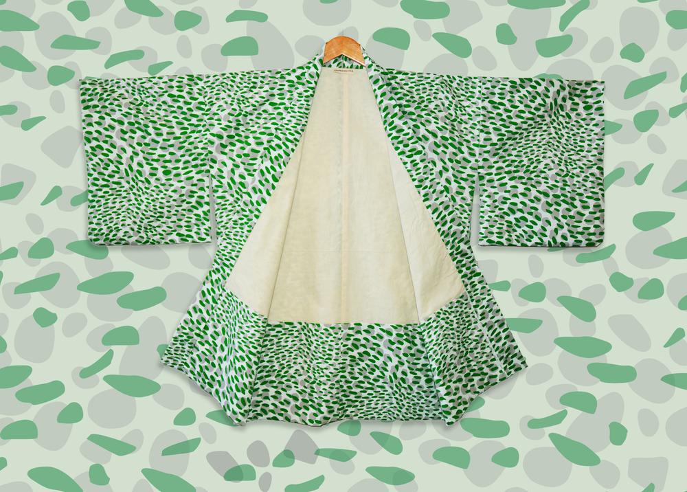 Camo print Haori with lining