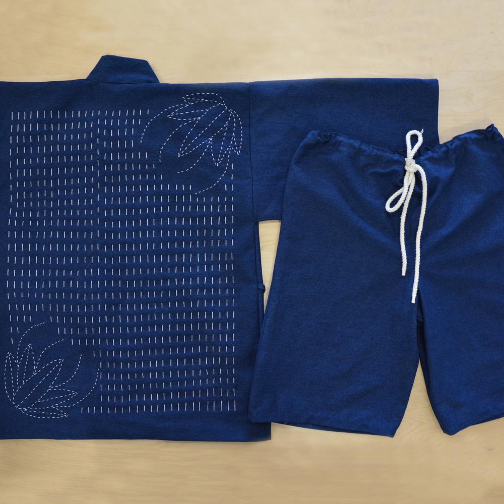 Men's Jinbei Set (hand-stitched Sashiko Embroidery + Shorts)
