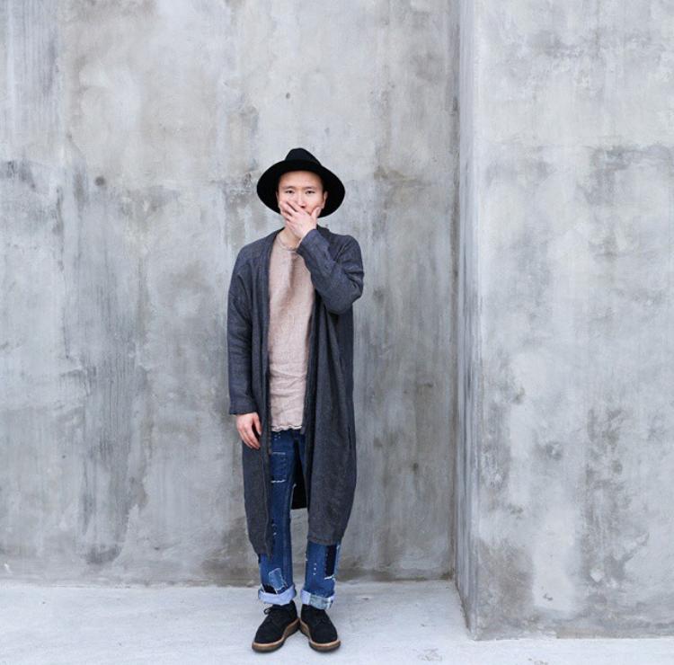 Huy in his custom Multi-Weave Linen Happi Kimono