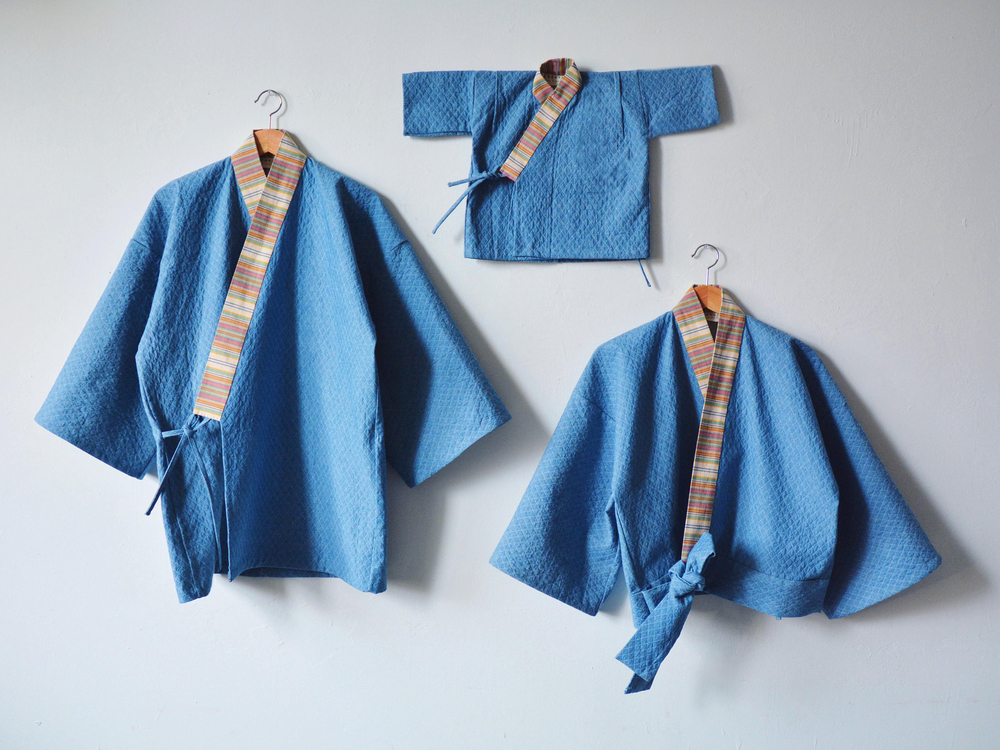 Matching Quilted Denim Jinbei for family of 3