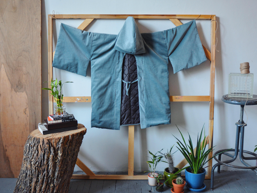 Corduroy Hooded Haori Kimono with Quilted Lining