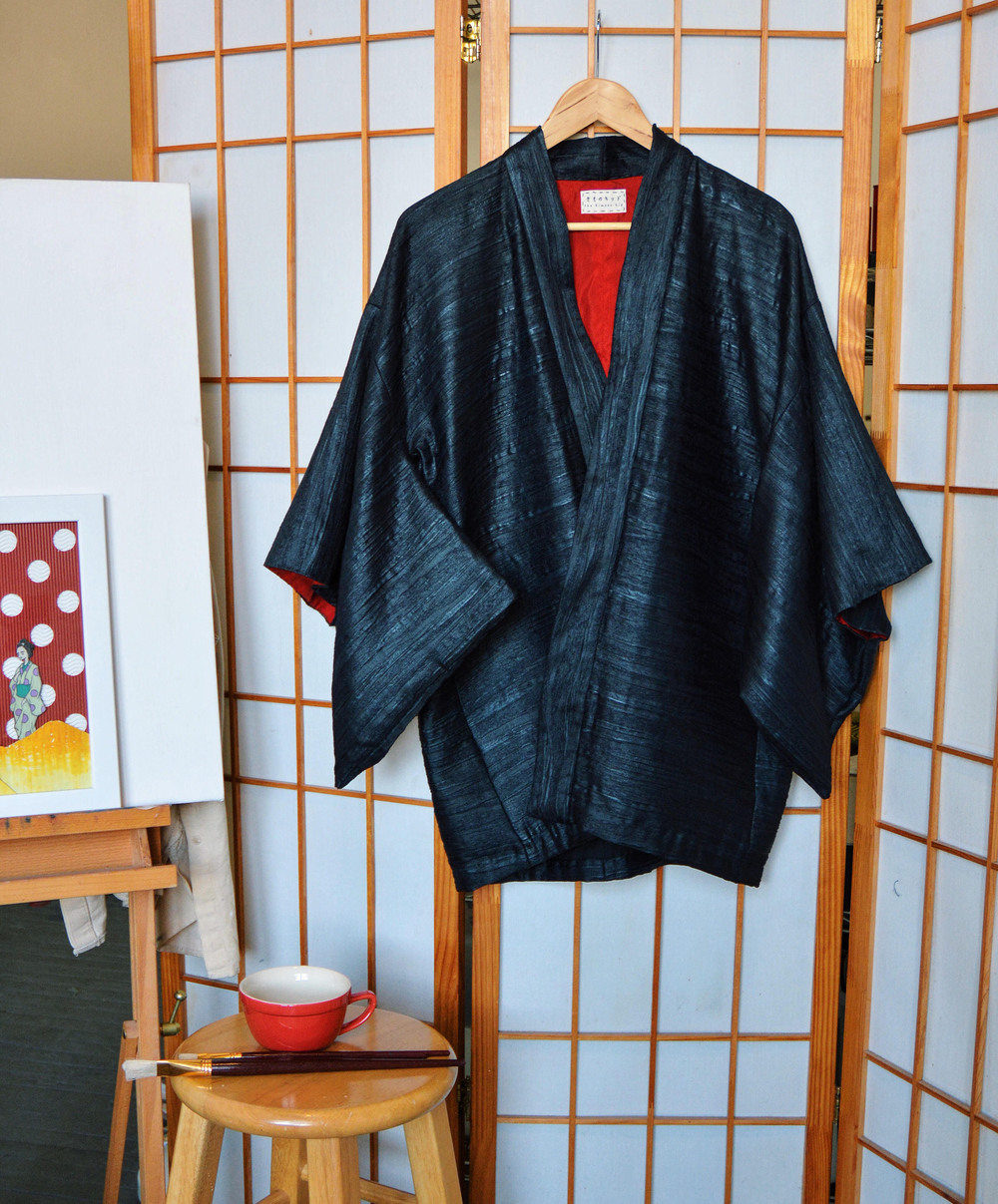 Black Silk Jacquard Haori with lining
