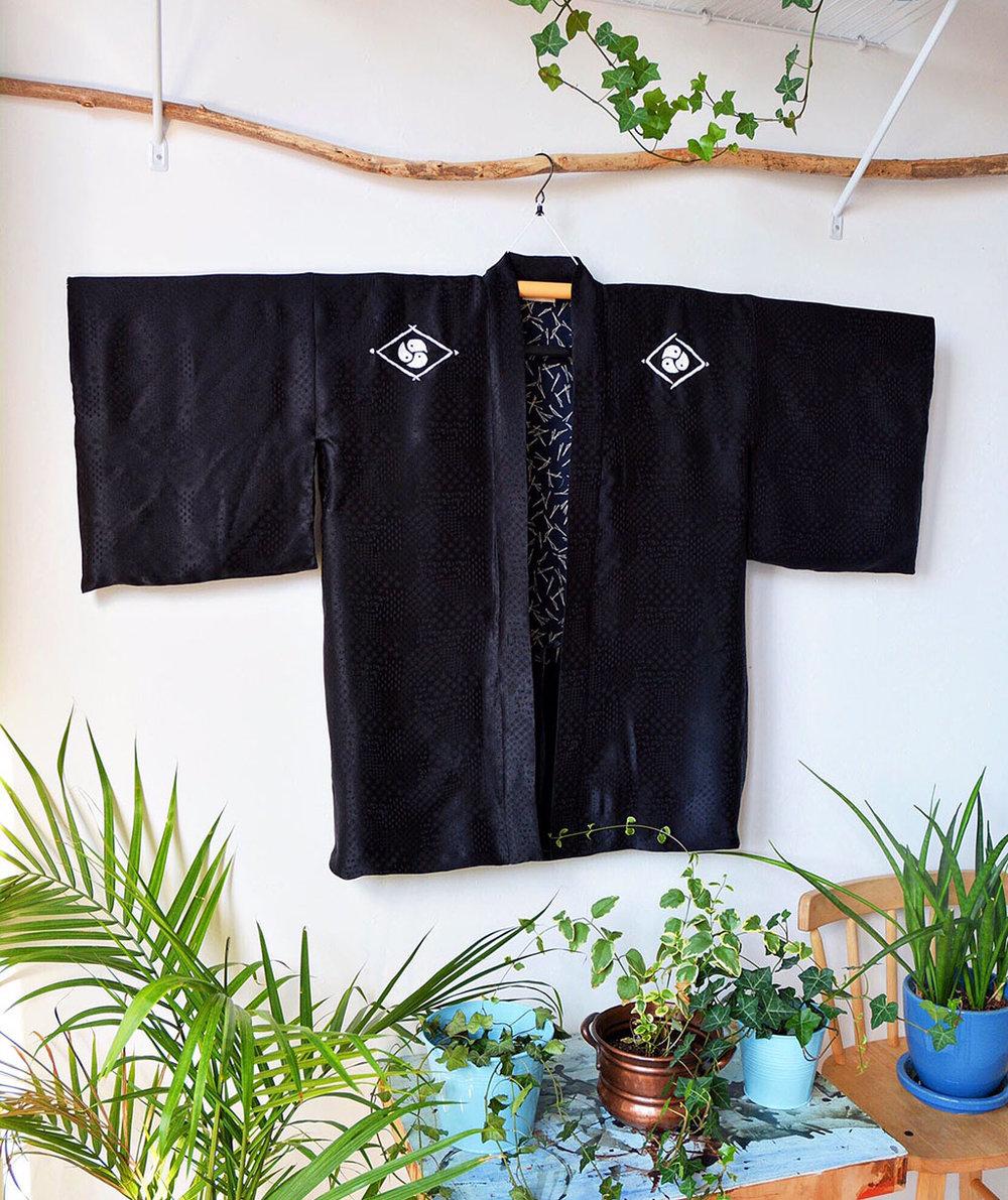 Silk Haori with hand-sewn sashiko Mon (family crest)