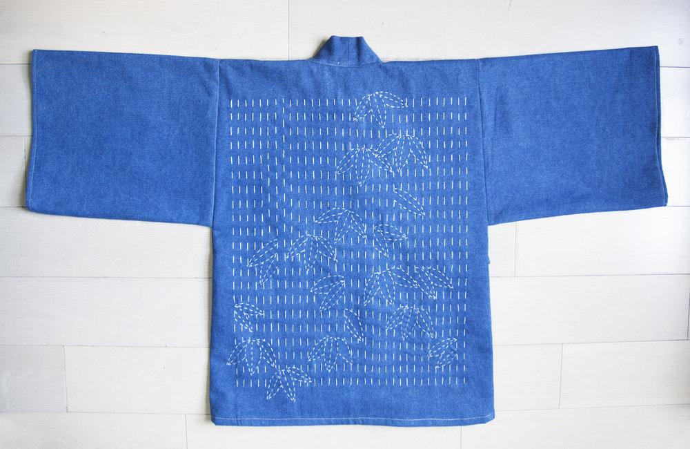Hand-stitched Sashiko embroidery