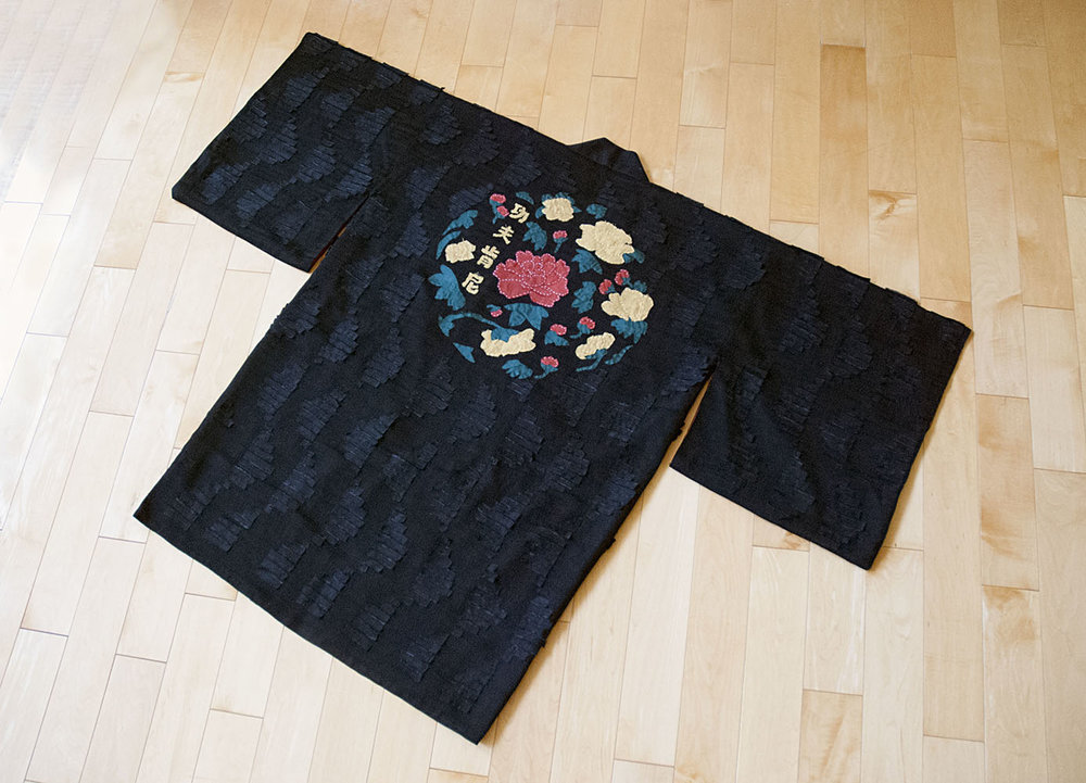 "Silk Jacquard Haori with hand sewn ""DNA-helix"" inspired appliqué and floral appliqué center piece"