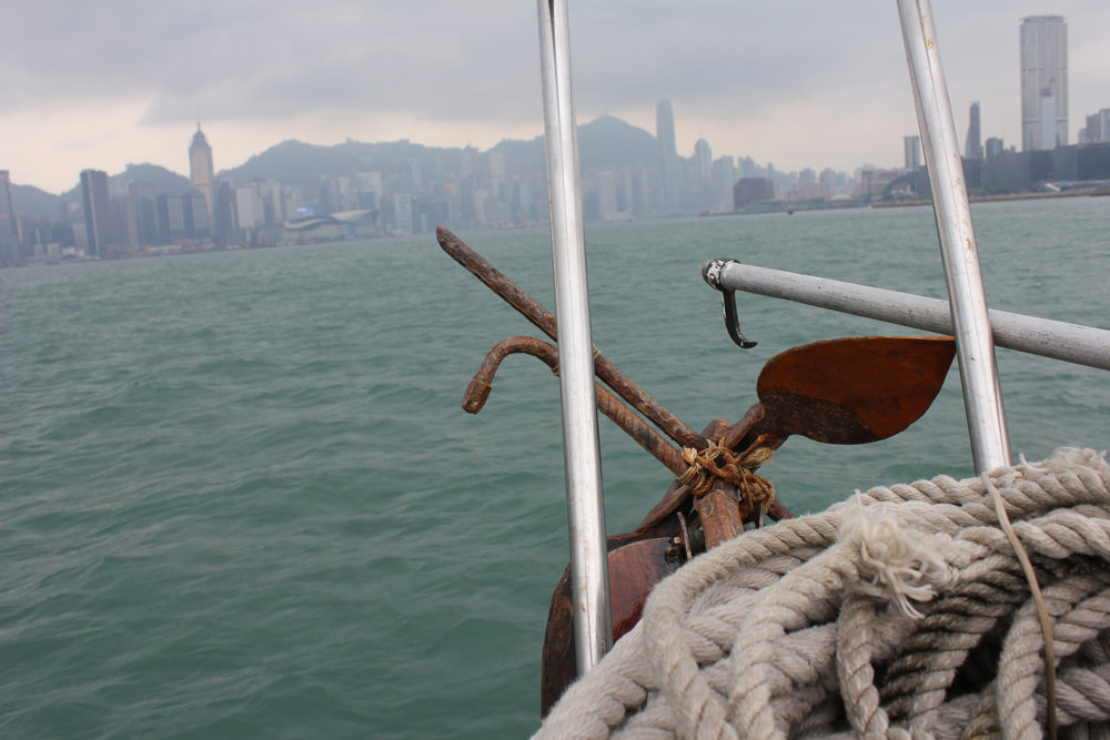 The view of Hong Kong Island from the deck of a boat on Victoria Bay, on our last night's excursion to the fishing and restaurant-filled community on Lamma Island.
