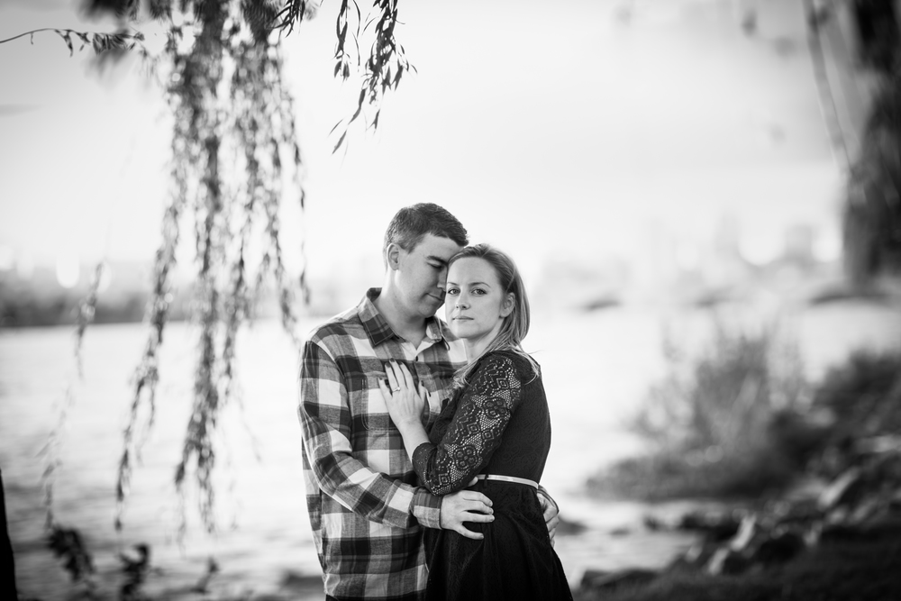 engagement black and white dramatic