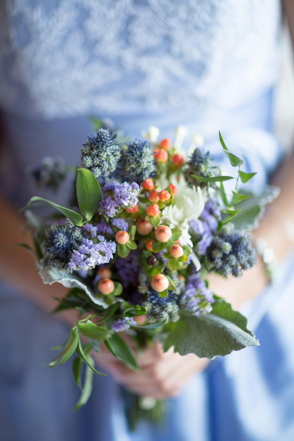 purple and orange bridesmaid bouquet