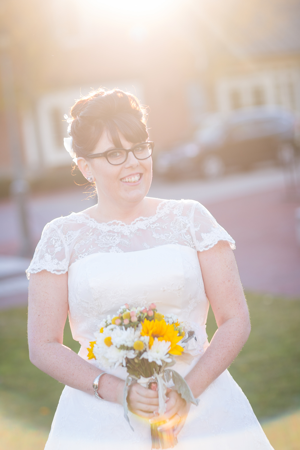 sunlit bride glasses retro