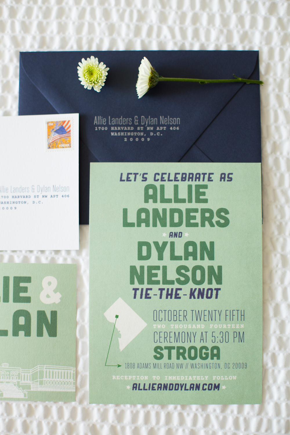 green navy wedding stationery