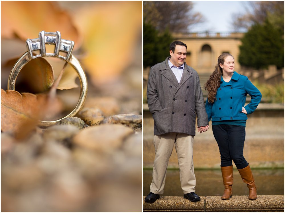 fall engagement session ring peacoat