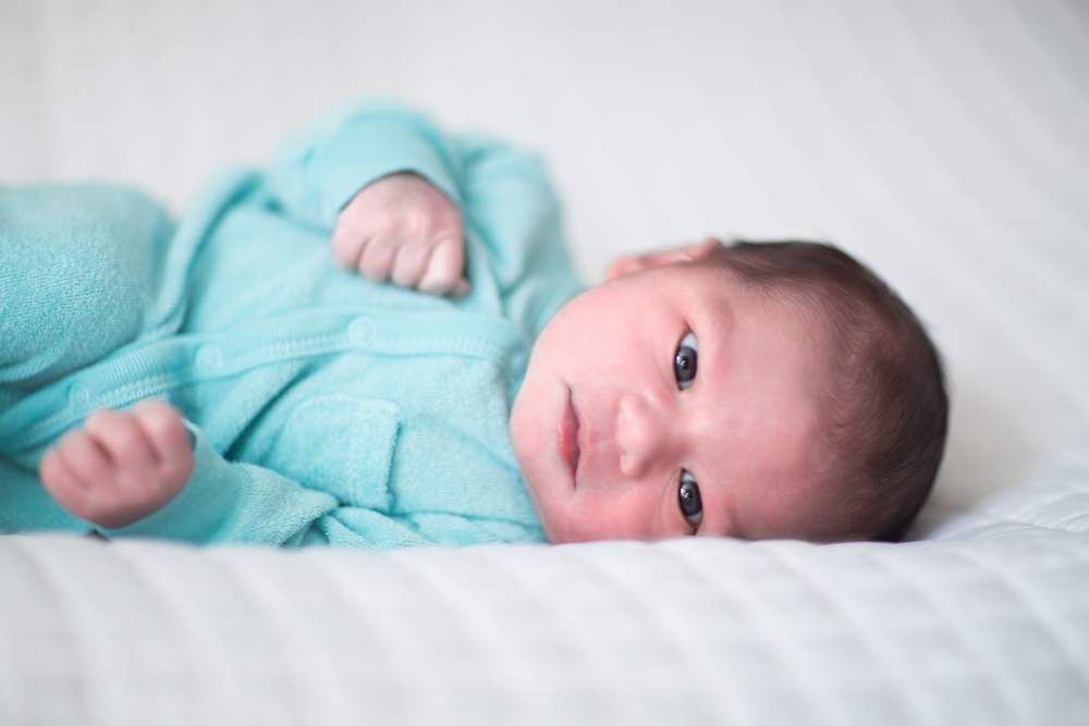 blue and white newborn photo session