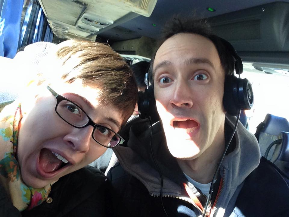 Travel selfie! The bus to NYC, where our journey began.