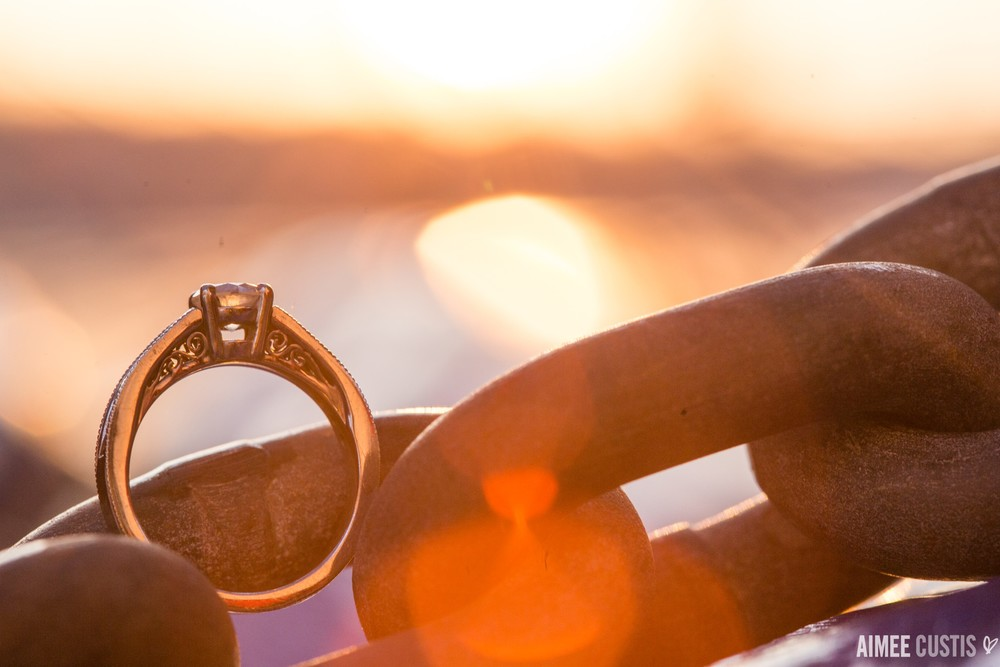 engagement ring detail golden hour key bridge boathouse