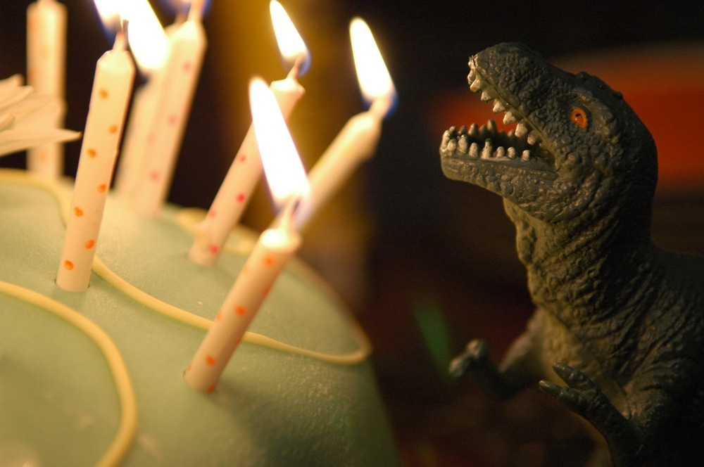 Image thanks to Andrew Storms. None of my cake photos had candles... or dinosaurs!