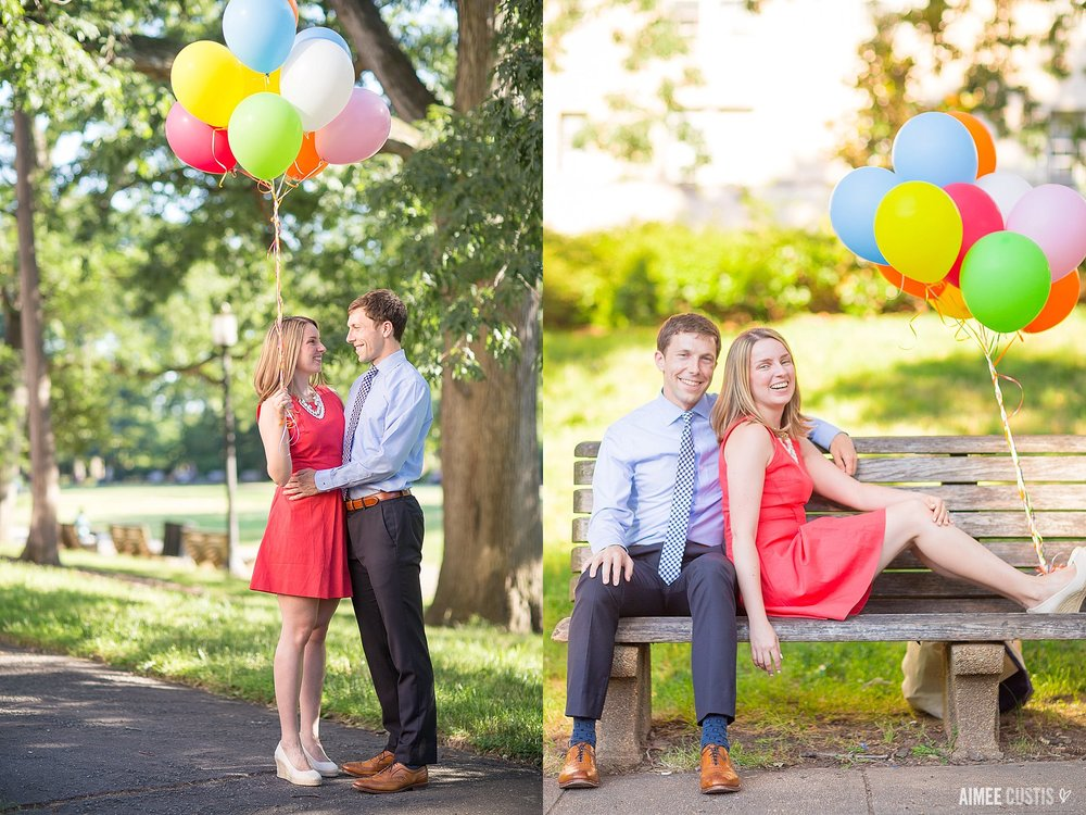 playful summertime balloon DC engagement session Meridian Hill Park