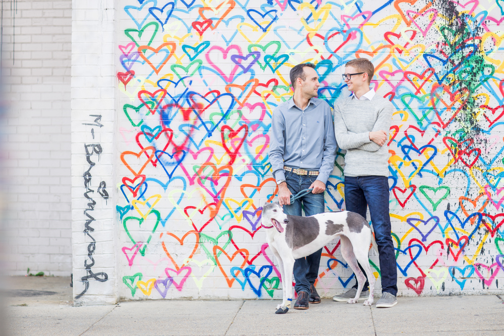 Cody + Chris's engagement at Union Market. Technically, it's private property, so DC Office of Film & TV wouldn't issue us a permit as they didn't have jurisdiction. Great! Here in front of the mural we had no problem, but when we stepped onto a staircase about 50' away, a security guard asked us to leave, even though I'd contacted Union Market in advance for permission. If you obtain permission, always carry a hard copy of the email, letter, or permit -- security guards tend to be quite zealous and almost always ask to see.