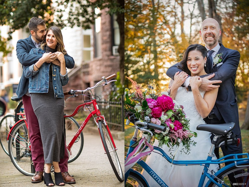 Ahh! The story of the bike! Early in the fall, we were strolling down P Street during this engagement session, and I saw prettiest bike! We posed for a photo in front of it… and when I posted that photo to Instagram, it BLEW UP with my friends in the bike community. Everyone commented not just on the gorgeous couple, but the gorgeous bike! We quickly sleuthed out what kind it was… and as it happens, I'd been researching to find a great commuter bike to buy for my very first bike. (I like to joke that I was the only professional bike advocate in the city (day job) who didn't own her own bike!) Well, wouldn't you know that as it happened, the bike in the photo was the perfect bike with the perfect features at the perfect price point for what I'd been looking for! I went to test ride one a few weeks later, and ordered it on the spot! Sadly, it wasn't available in that gorgeous red, but I could get it in a very nice bright blue and I decided that was okay! A few weeks later, I rode my shiny blue steed down to this elopement at the DC War Memorial… and the couple, who'd featured a bike on their wedding invitation, asked if we could take a photo with the bike. UM ARE YOU KIDDING YES! ABSOLUTELY! And thus the perfect circle of photography → bike → photography came to pass!