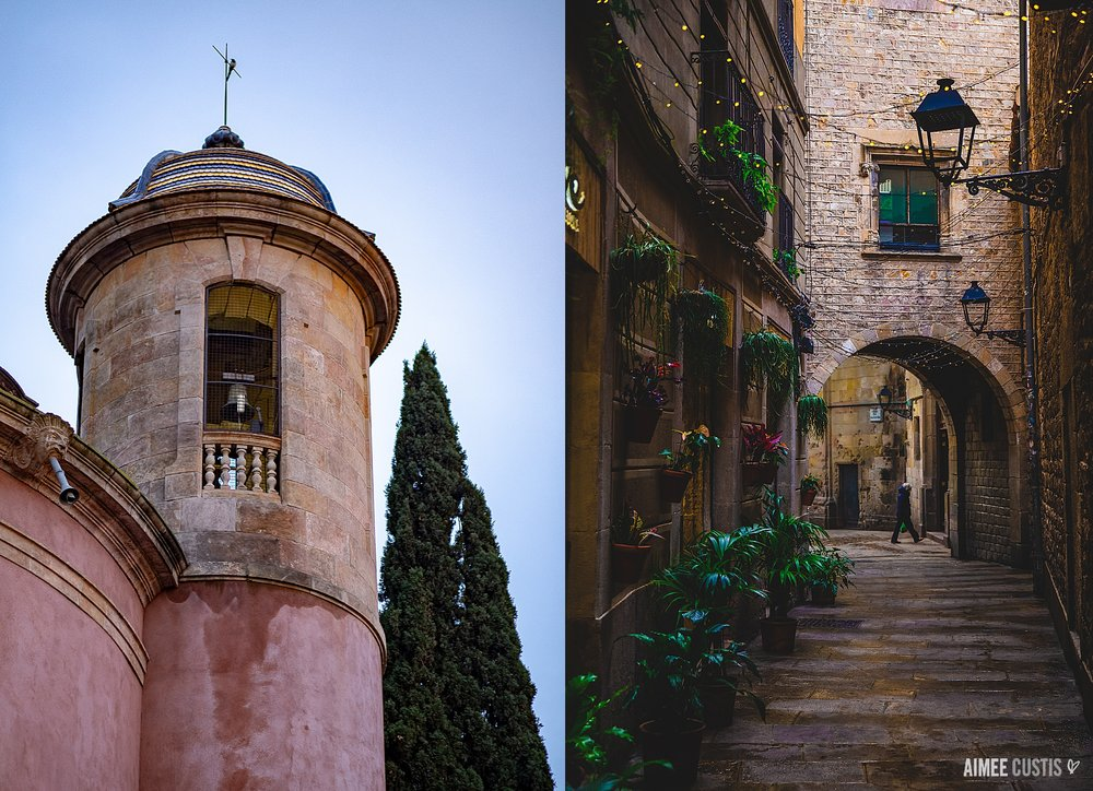 A church tower across from the Catalonian Parliament building in City Park (left) and the narrow streets of the Gothic Quarter (right).