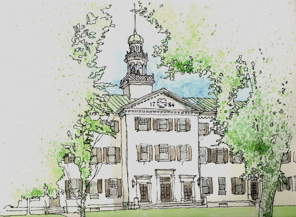 Dartmouth Hall, Hanover NH (ink & watercolor)