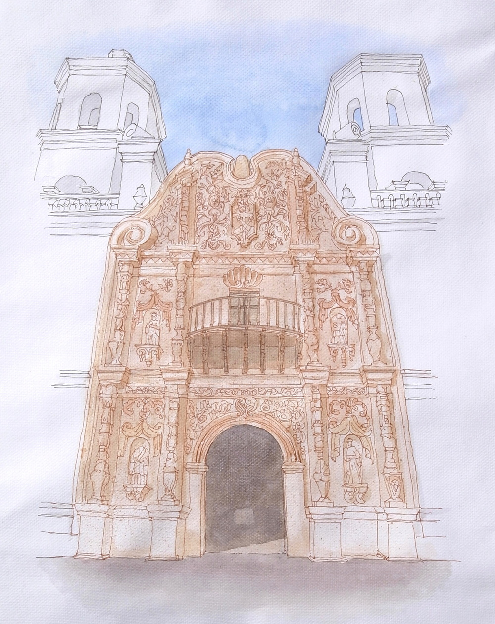 San Xavier del Bac façade (ink & watercolor)