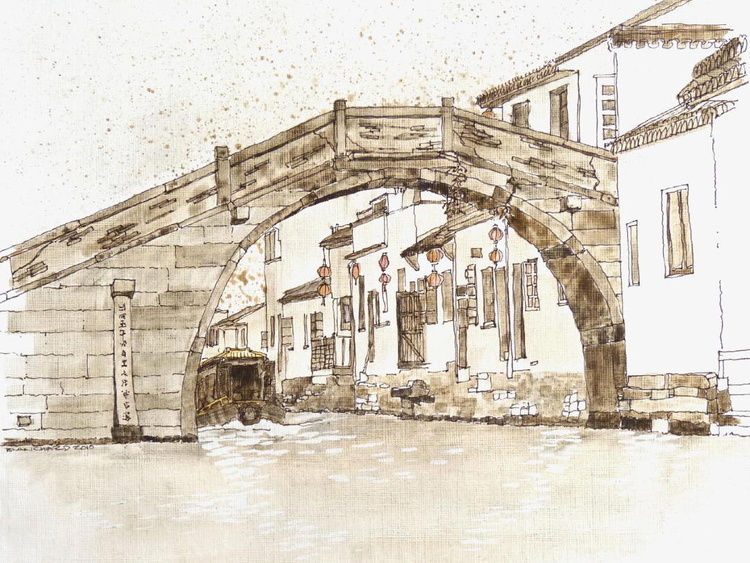 Suzhou Moonbridge (ink & watercolor)