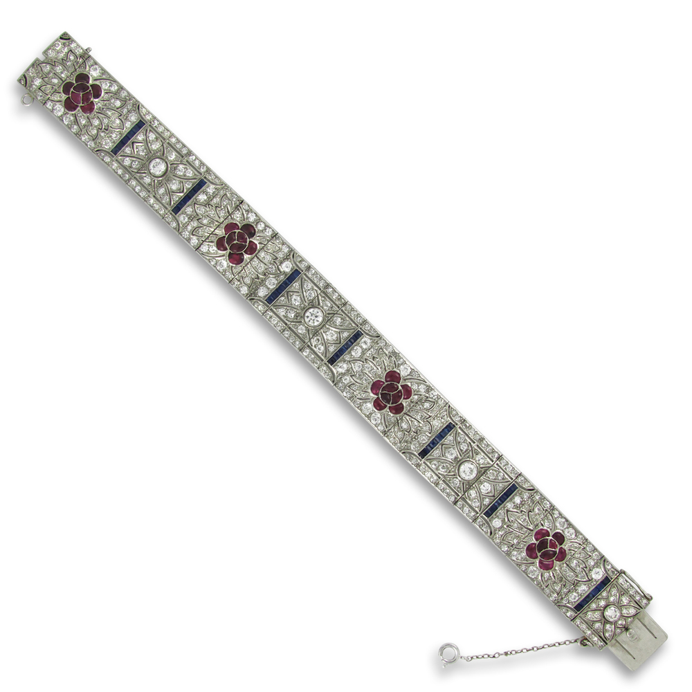 Platinum Ruby, Sapphire and Diamond Art Deco Bracelet