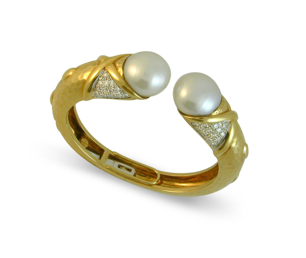 Yellow Gold and Pearl Bangle