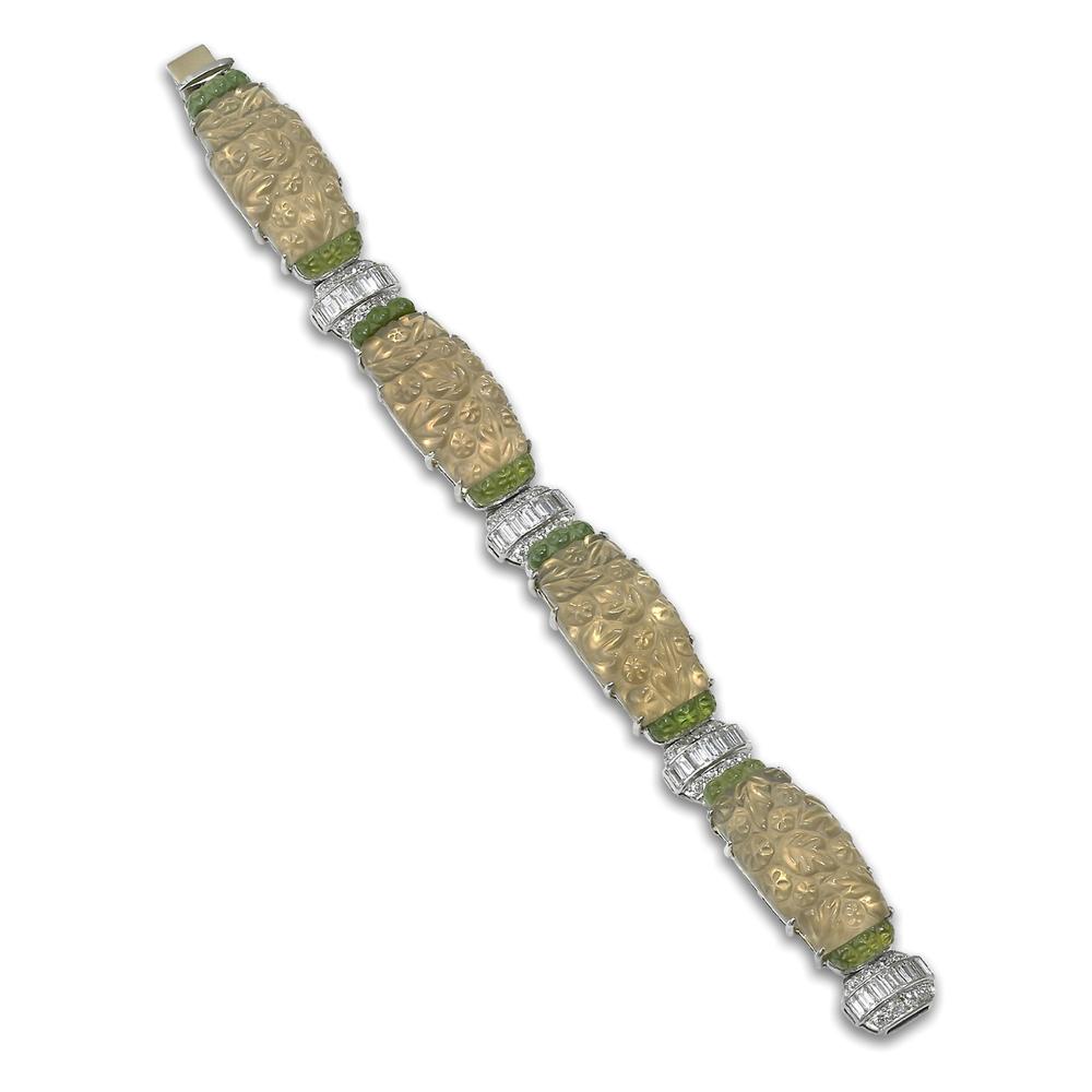 Carved Crystal, Diamond, Peridot and Platinum Bracelet