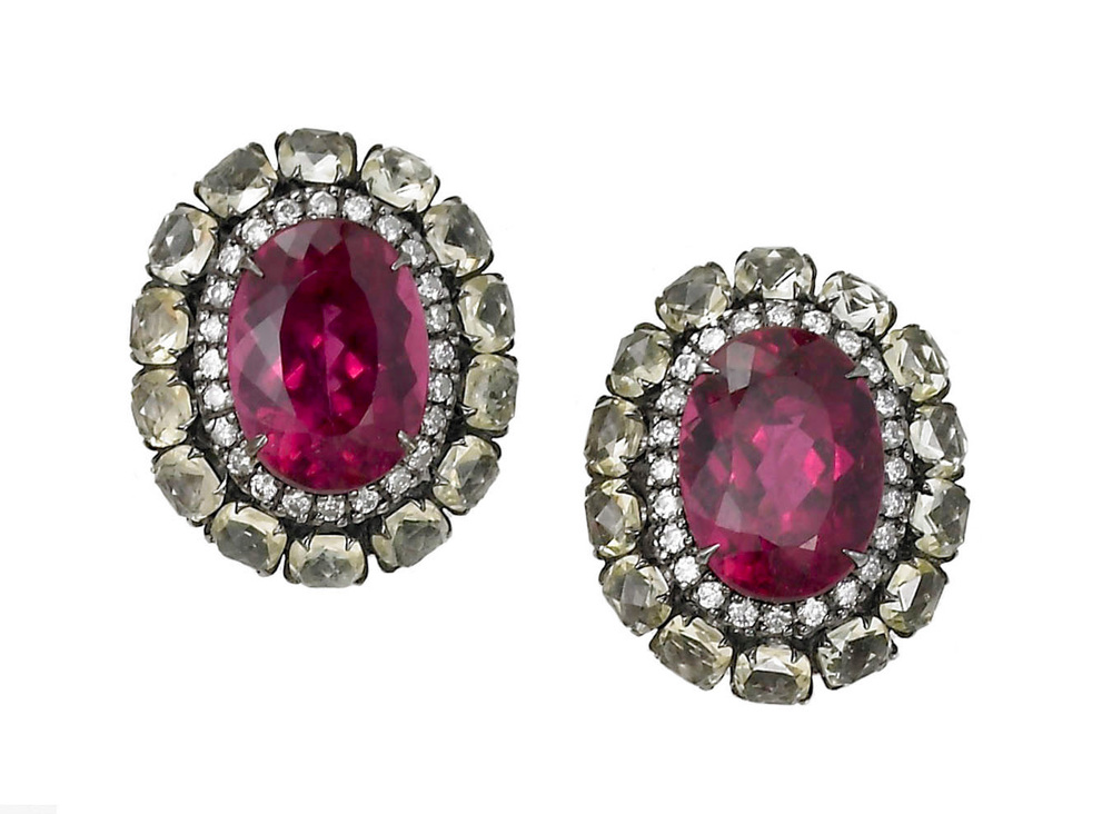 Rubellite , Diamond and Quartz Earrings