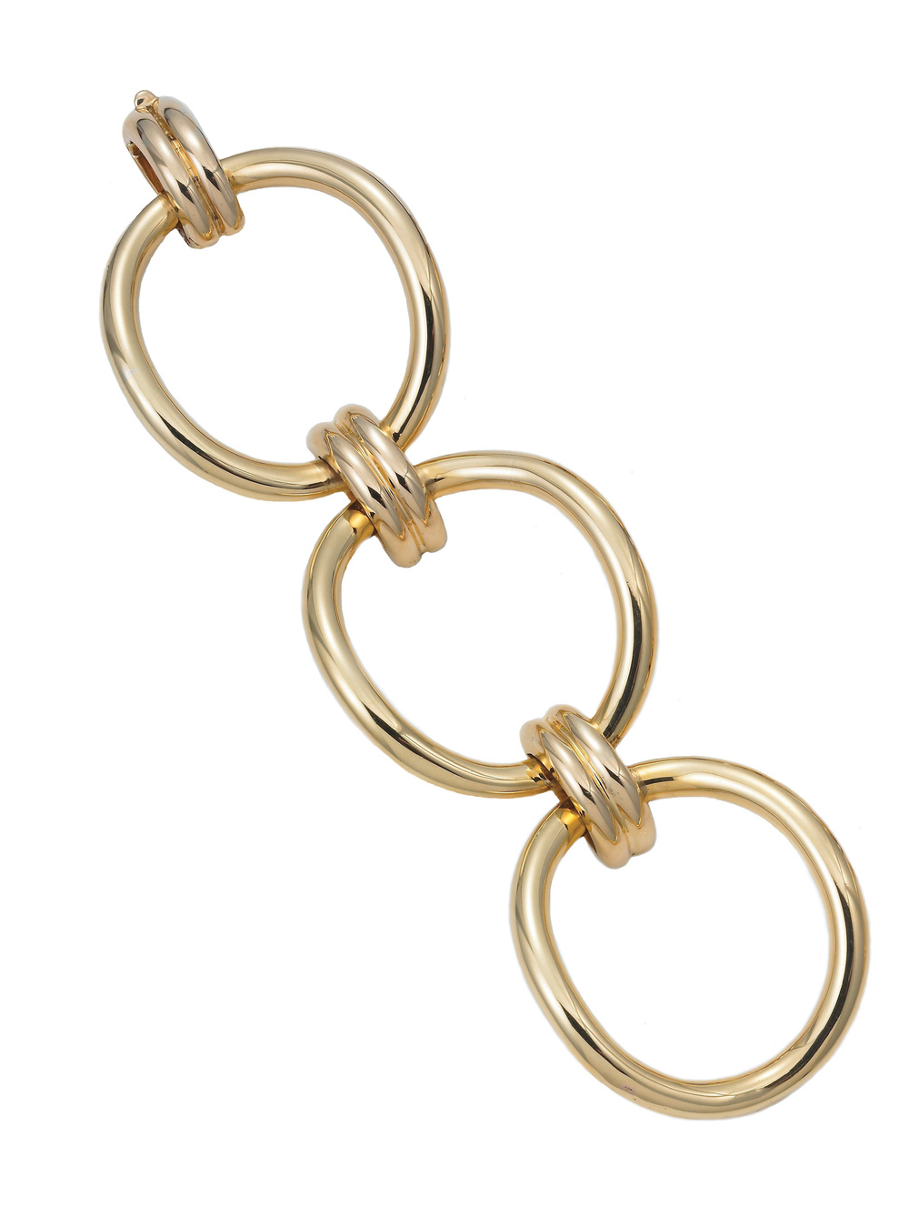 18KT yellow gold Signature bracelet with oval links. From the Meriwether   RETRO REDUX   line.