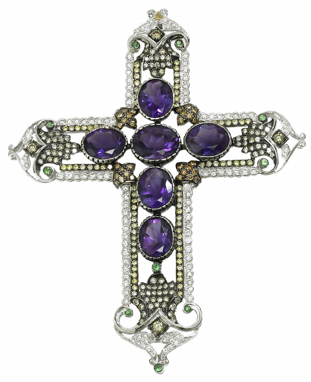 Amethyst, Diamond and Tsavorite Cross