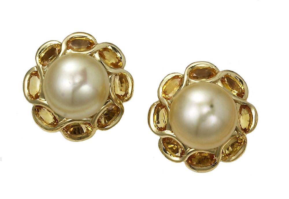 Golden Pearl and Yellow Sapphire Earrings