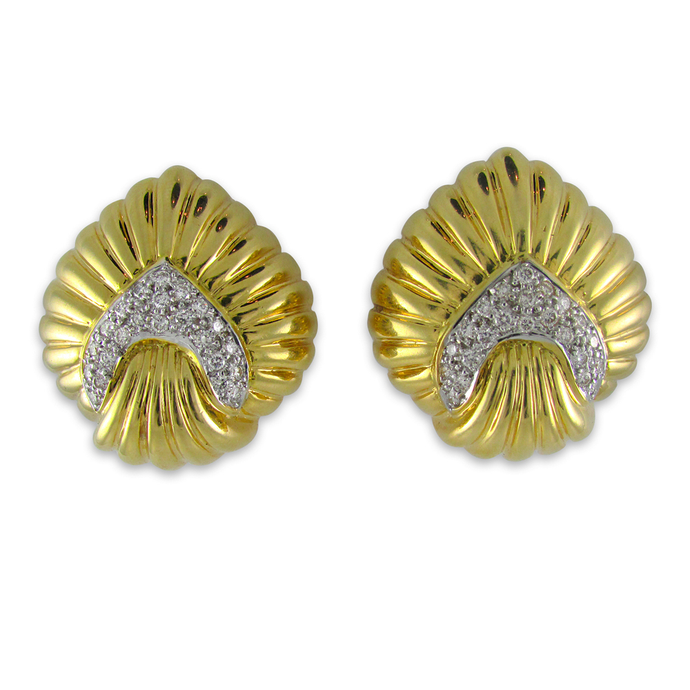 Pave Diamon and Ribbed Yellow Gold Earrings