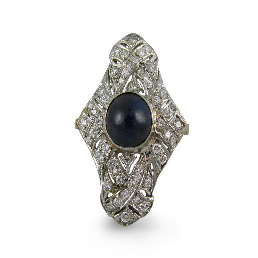Art Deco Diamond and Sapphire Navette Ring