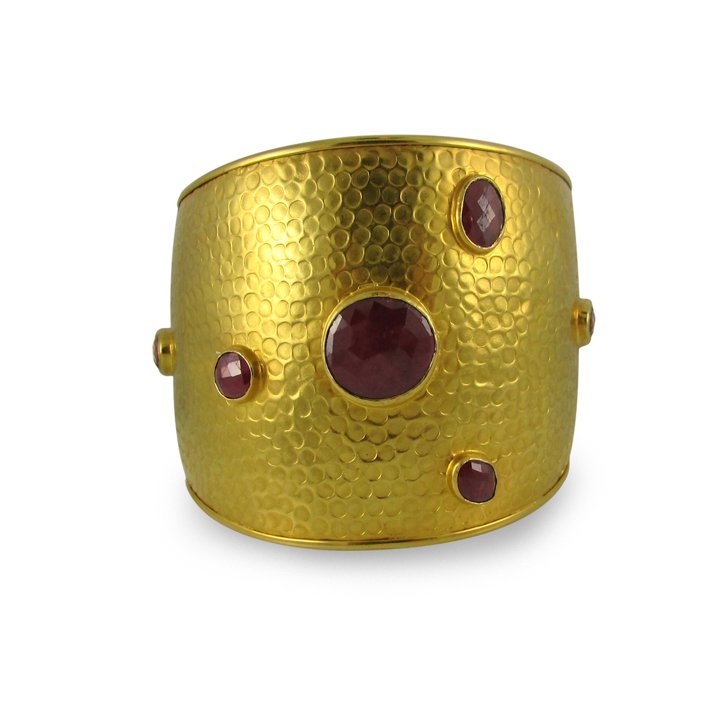 Hammered Gold Cuff with Rubies