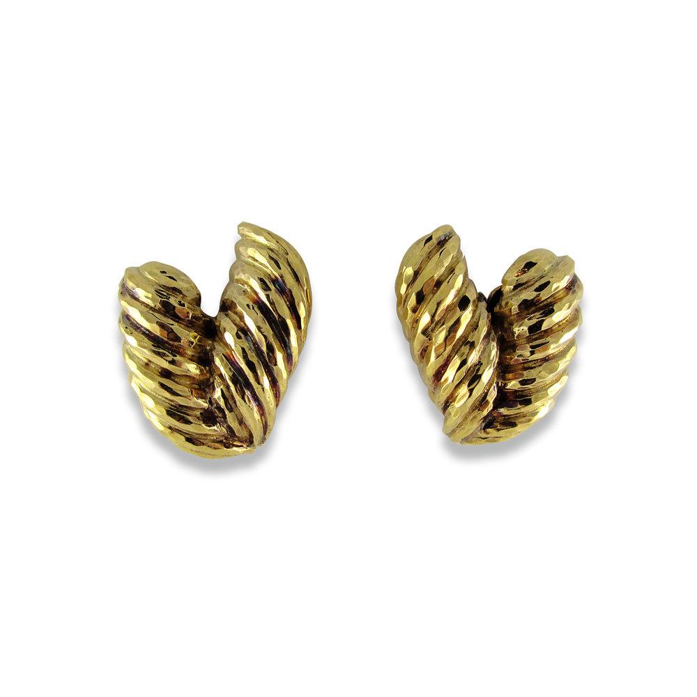 "Hammered ""V"" Earrings by David Webb"