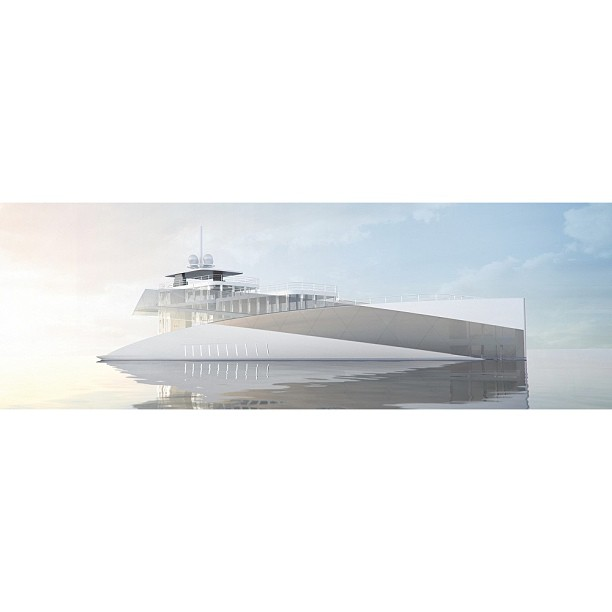 The Dutch builder, Feadship has unveiled it's latest concept at the Monaco Yacht Show 'Feadship Royal' The light superstructure composed of glass and the steady sloping shear line of the hull create a soft feeling. The diagonal graphic strip is somewhat distracting but nonetheless shows that Feadship is developing in new territories. Your thoughts?